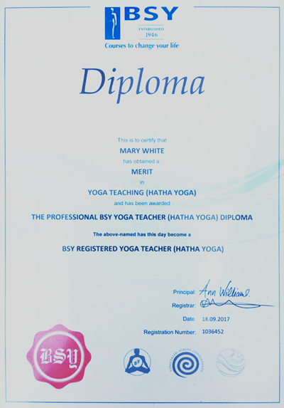 Mary White is a professional British School of Yoga qualified teacher in Hatha Yoga